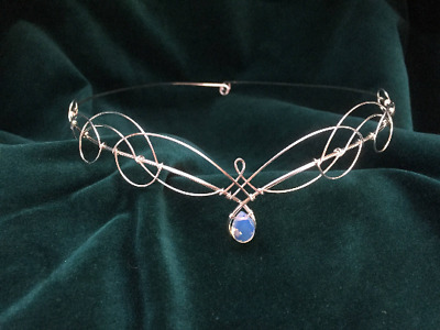 Bridal Tiara Circlet with Opalite Moonstone Headpiece Medieval Elven Wedding