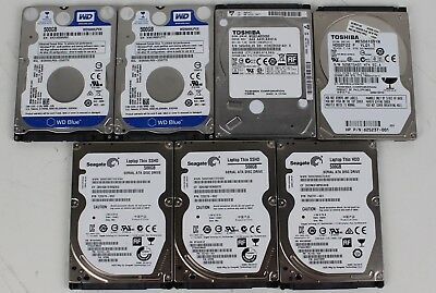 "Lot of (7) 500GB 2.5"" SATA Laptop HDDs Seagate, Western Digital, Toshiba"