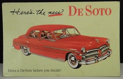 "Vintage 1950 DE SOTO Car AUTO Advertising Postcard ""Drive Before You Decide"" PC"
