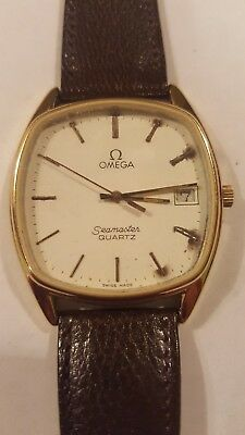 Omega Seamaster Gents Quartz Watch Gold Plated Case Leather Strap  C1980s