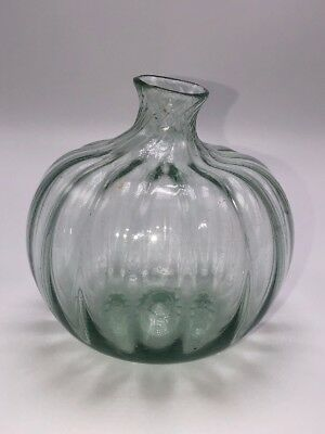 19th c. Antique Blown Glass Aqua Onion Swirl Ribbed Flask Bottle Open Pontil