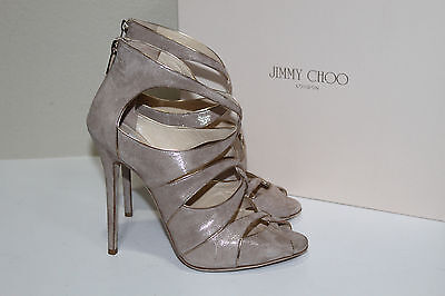 cf487a32db46 New sz 10   40 Jimmy Choo Legend Sand Beige Shimmer Suede Ankle Sandal Shoes
