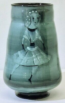 Striking and Unusual Vintage Polia Pillin Vase, Seagreen Palette, c. 1950s–70s