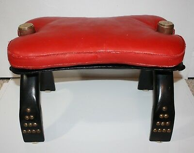 Vintage Egyptian Camel Foot Stool Ottoman Saddle Leather Wood Chair