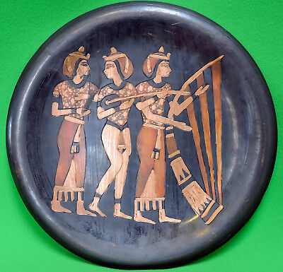 """Vintage Egyptian Copper Hand-Etched 10"""" Wall Art Plate"""