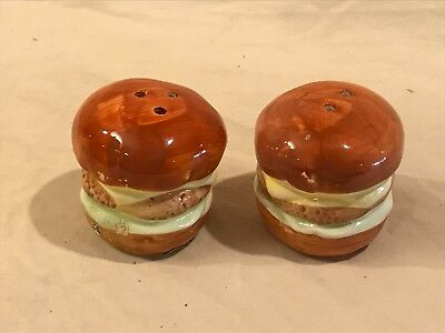 Ceramic Hamburger Salt and Pepper Shakers.  By Enesco Design Taiwan