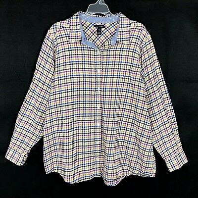 7cfd4cb1e97a8 Lands  end Womens Plus Size 2X 20W - 22W Colorful Gingham Buttons down Top  Shirt