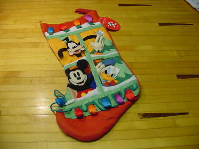 1995 Mickey Mouse  Goofy  Donald Duck Christmas Stocking The Disney Store  3 D