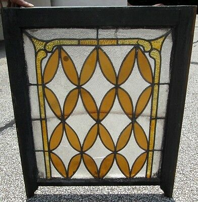 Fine Antique Stained & Frosted Glass Window  In Nice Size Old Frame Estate # 259