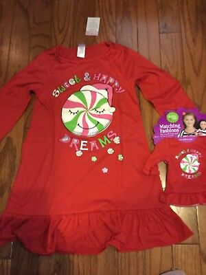 Dollie and Me Christmas Nightgown Size 10 with Matching Doll Outfit NWT see comm