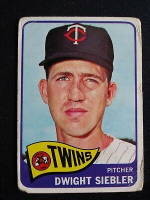 1965 Topps Baseball Card # 326 Dwight Siebler - Minnesota Twins
