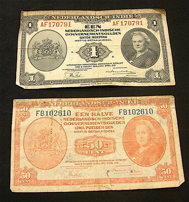 Netherlands East Indies~~WW2 Vintage 1943 Banknotes---Lot of 2 Notes--free ship
