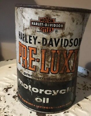 Vintage HARLEY DAVIDSON Qt Metal Oil Can FULL Pre Luxe Oil Premium Deluxe 1950's