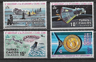 Turks & Caicos Islands , 1972 , 10Th Anniv. Space ,  ,  Set Of 4., Perf , Mnh