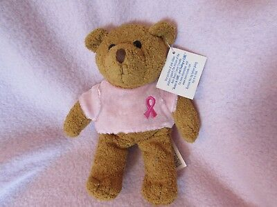 2001 AVON Breast Cancer Crussade Plush Bear Beanie Brown Pink Shirt Ribbon rare
