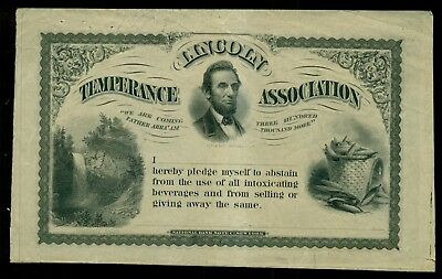 1860's Lincoln Temperance Association Pledge Certificate-National Bank Note Co.