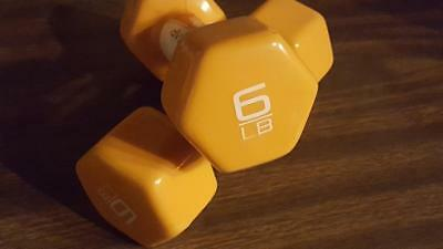 CAP Yellow Vinyl Dumbbells Weights 12 lb Pair (6 lb x 2) Yoga Aerobics Workout