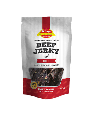 D.Jays Gourmet Beef Jerky Chilli Accessories 40g case of 10