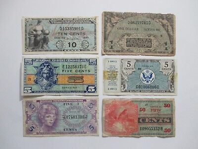 Lot Of 6 Different Us Military Currency Notes