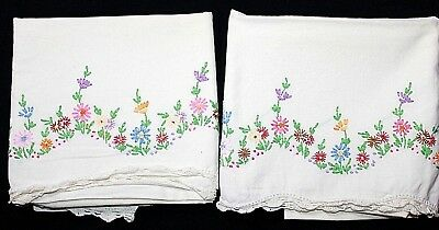 VTG PR Hand-Embroidered Pillowcases, Wildflowers, Crocheted Edge 27 x 21 VGUC