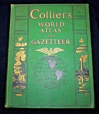 COLLIER'S WORLD ATLAS AND GAZETTEER, 1943 WWII WAR MAPS, HC Folio, Good