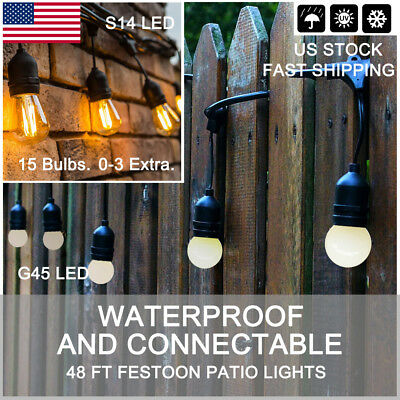 2 pack 48 ft Outdoor Commercial Garden S14 LED/G45 LED Party Patio String Lights
