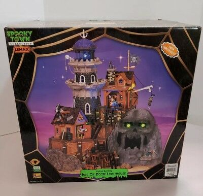 Lemax Spooky Town Isle Of Doom Lighthouse Illuminated Sound Halloween Haunted