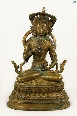 Antique 19th Century Asian Chinese Sitting Buddha Gilded Bronze Statue w/Snake