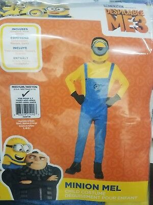 Halloween Despicable Me 3 Minion Mel Child Costume Size Medium 8-10.