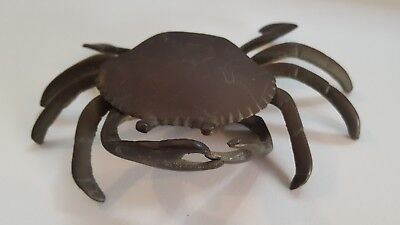 Vintage Brass Crab Ashtray Jewelry Holder Or Trinket Holder Hinged Lid & claws