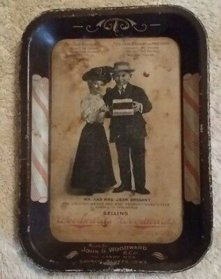 1907  Antique Advertising Tip Tray, Midget Couple, Council Bluffs, Iowa Candy Co