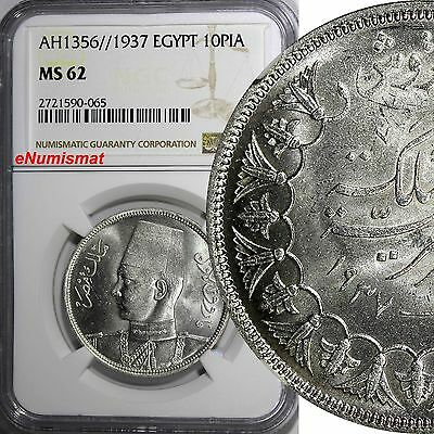 EGYPT King Farouk Silver AH1356//1937 10 Piastres NGC MS62 BETTER DATE KM# 367