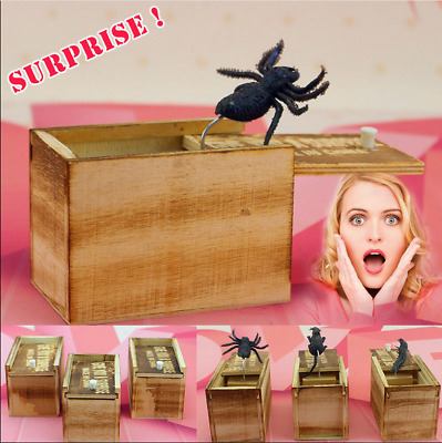 Wooden Prank Spider Scare Box Hidden in Case Trick Play Joke Gag Toys Random US
