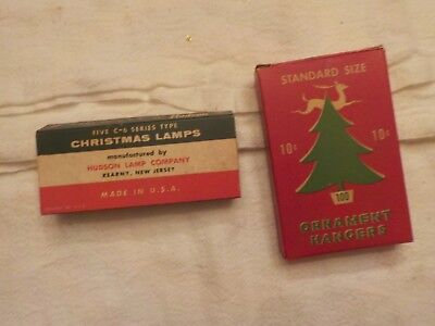 Vintage Advertising Box Ornament Hangers, And  Hudson Christmas Lamps