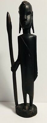 Vintage Wood Hand Carved African Tribal Worrier With A Spear Figurine/Statue