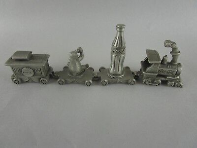 Pewter Coca Cola Bear , bottle & Caboose Miniature Train Set - 4 cars -