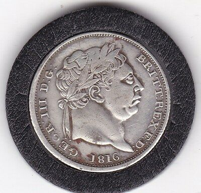 1816  Sharp  King  George  III  Sterling  Silver  Shilling  British Coin