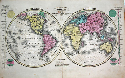 Fine Antique Map Of The World Laid Out Flat Robertson Map 1828 United States