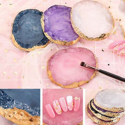 Natural Resin Stone Nail Art Color Palette Acrylic Gel Polish Holder Drawing