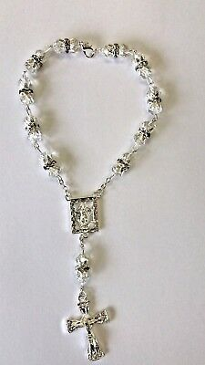 Rosary Of Clear Acrylic Beads With Crucifix In Silver And Diamond Decorated