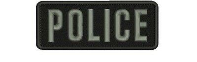 POLICE embroidery patch 2x4 hook grey letters