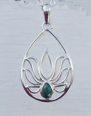 638 Emerald Lotus Solid 925 Sterling Silver gemstone pendant rrp$49.95