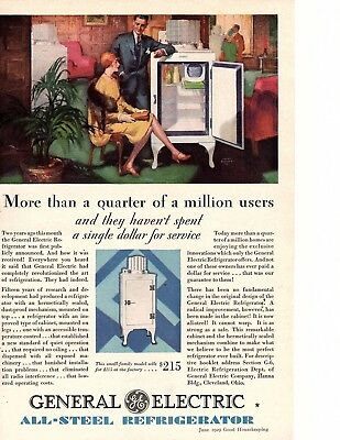 1929 GENERAL ELECTRIC ALL STEEL REFRIGERATOR KITCHEN  flapper woman