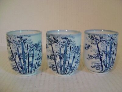 Vintage Set Of Three Porcelain Cups With Blue Bamboo Trees Signed On Bottom