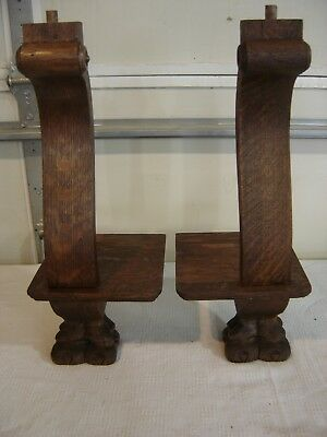 Antique Quarter-Sawn Oak Pediment-Salvage  Claw-footed -  315