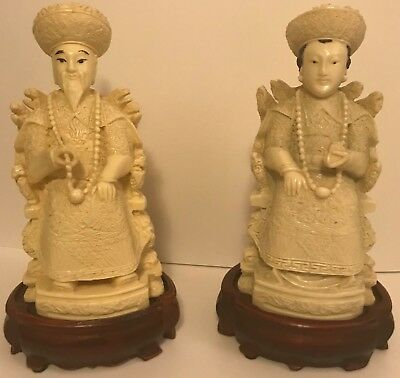 Antique Vintage Chinese Hand Carved Pair Emperor & Empress Bovine Resin Statues