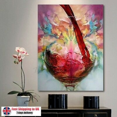 Abstract Giclee Red Wine Glass Oil Painting Canvas Print Wall Art Picture Decor