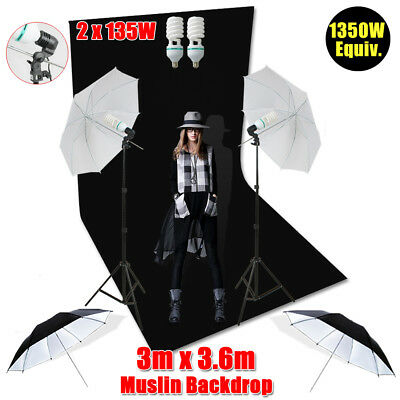 Black Screen Photo Backdrop Studio Umbrella Lighting Continuous Light Stand Kit