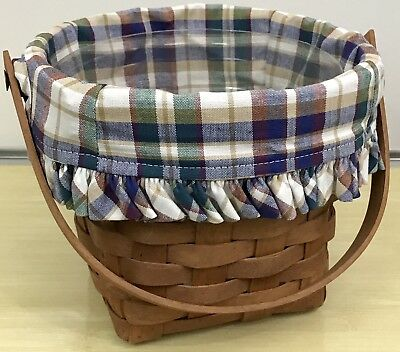 "Longaberger 7"" Measuring Basket Combo, Woven Traditions Plaid Liner, Protector"