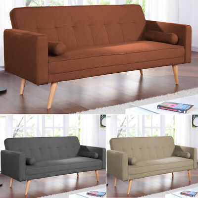 Magnificent Modern Linen Fabric 2 3 Seater Sofa Bed Scandi Style Living Room Sleeper Couch Beutiful Home Inspiration Cosmmahrainfo
